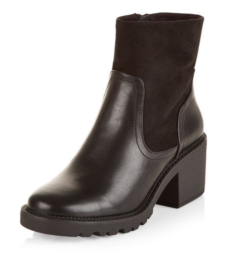 Teens Black Leather-Look High Ankle Block Heel Boots | New Look