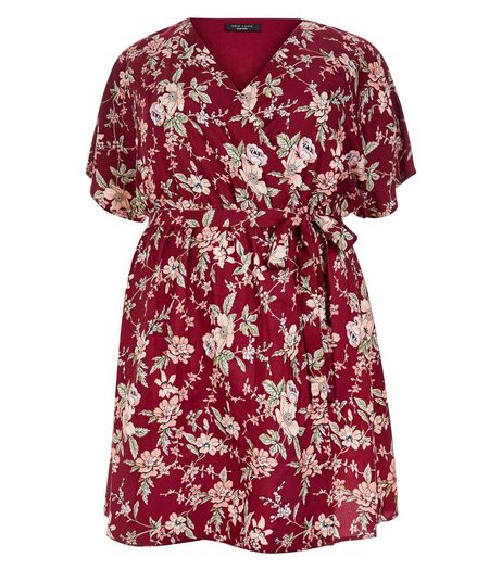 Curves Red Floral Print Wide Sleeve Wrap Dress | New Look