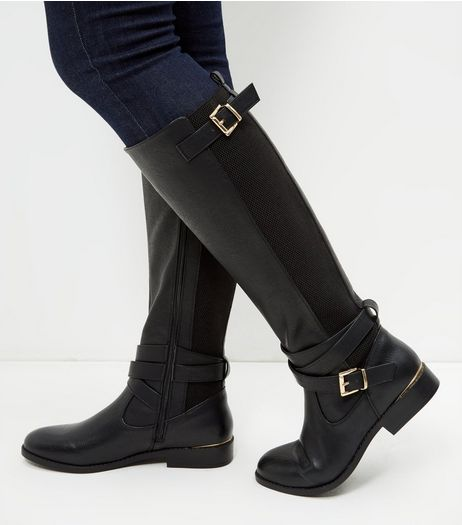Black Leather-Look Elasticated Panel Riding Boots  | New Look