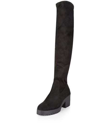 Wide Fit Black Suedette Block Heel Over The Knee Boots | New Look
