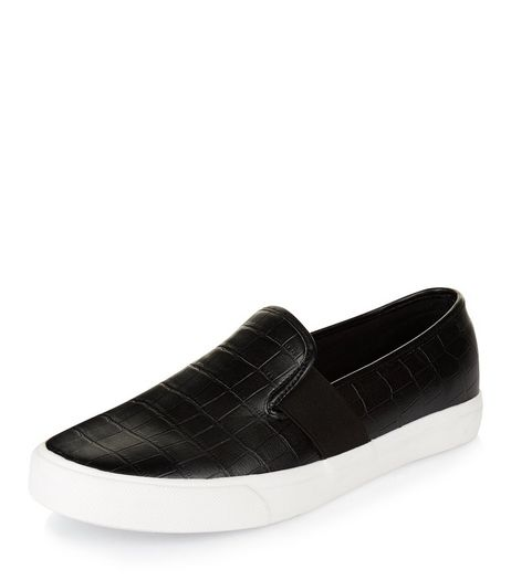 Teens Black Textured Slip On Plimsolls | New Look