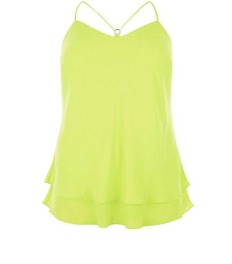 Curves Lime Layered Strappy Cami | New Look