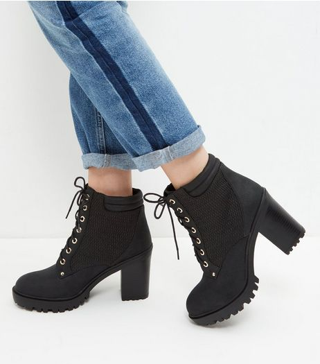 Black Quilted Panel Lace Up Block Heel Boots  | New Look