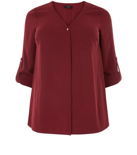 Curves Burgundy Roll Sleeve Shirt | New Look