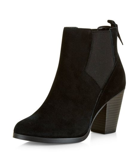 Black Suede Western Chelsea Boots  | New Look