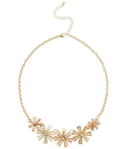Gold Cone Flower Necklace | New Look