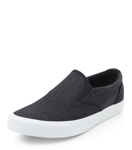 Teens Black Glitter Slip On Plimsolls | New Look