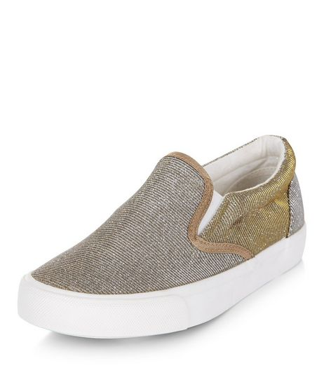 Teens Gold Glitter Slip On Plimsolls | New Look