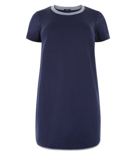 Curves Navy Contrast Neckline T-Shirt Dress | New Look