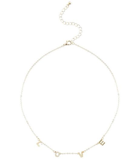 Gold Love Charm Necklace | New Look