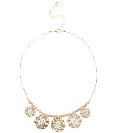 Gold Beaded Filigree Disc Necklace | New Look