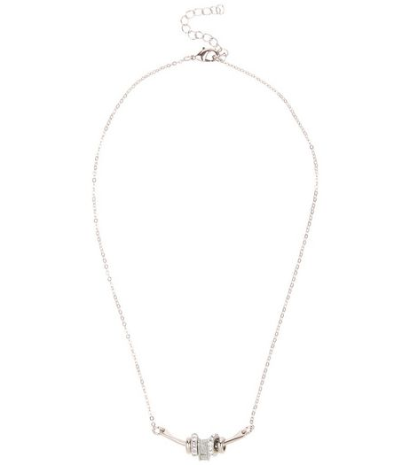 Silver Glitter Charm Necklace | New Look
