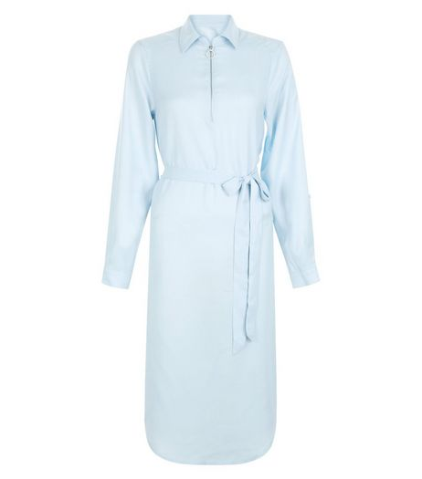 AX Paris Blue Long Sleeve Shirt Dress | New Look