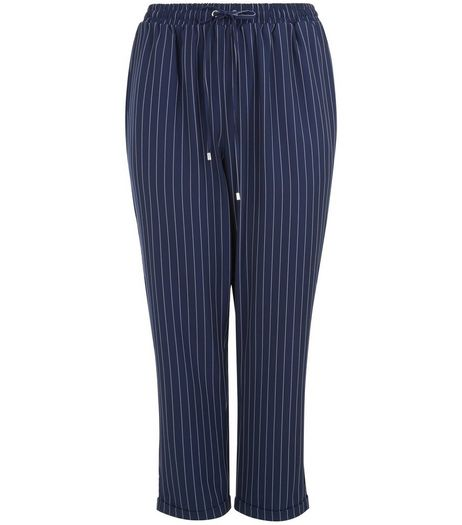 Curves Navy Pinstripe Joggers | New Look
