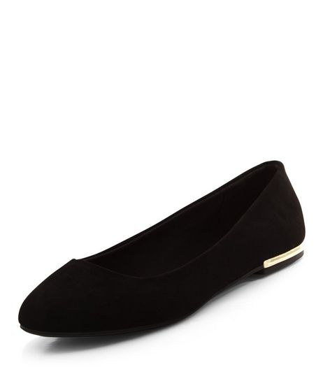 Wide Fit Black Suedette Metal Trim Ballet Pumps | New Look