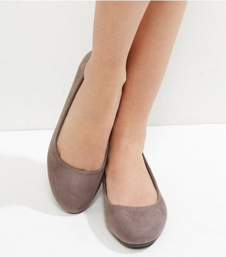 Wide Fit Dark Grey Suedette Metal Trim Ballet Pumps  | New Look
