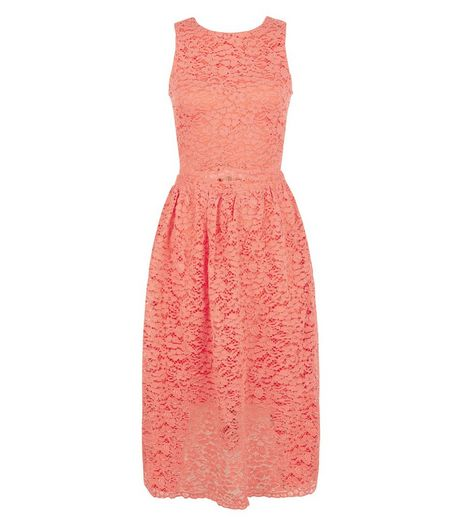 AX Paris Coral Lace Midi Dress | New Look