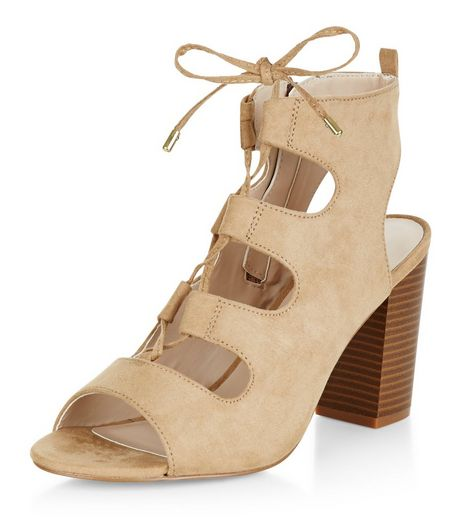 Wide Fit Camel Suedette Ghillie Block Heels | New Look