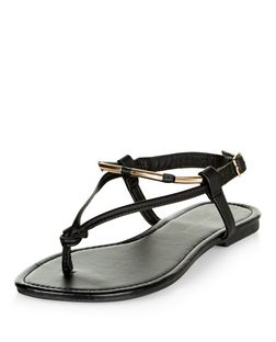 Wide Fit Black Metal Trim Sandals | New Look