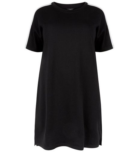 Curves Black Colour Block Sweater Dress | New Look