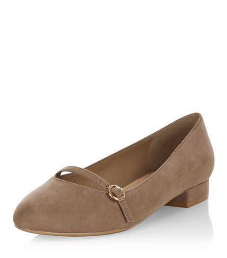 Wide Fit Light Brown Suedette Ballet Pumps | New Look