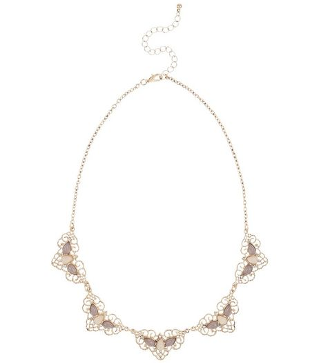 Gold Filigree Stone Necklace | New Look