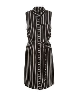 AX Paris Black Stripe Sleeveless Shirt Dress | New Look