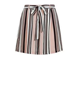 Curves Pink Stripe Belted Shorts | New Look