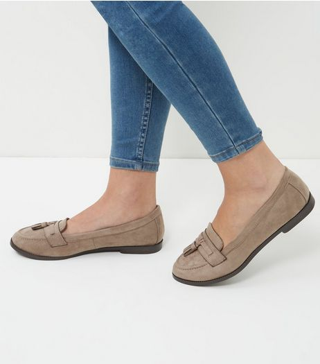 Wide Fit Light Brown Suedette Tassel Trim Loafers  | New Look