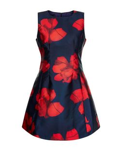 AX Paris Navy Floral Print Sleeveless Skater Dress | New Look
