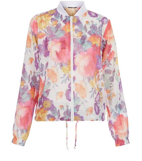 White Floral Print Drawstring Trim Bomber Jacket  | New Look