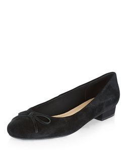 Wide Fit Black Leather Ballet Pumps  | New Look