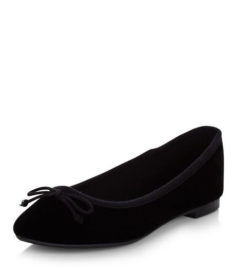 Black Velvet Ballet Pumps  | New Look