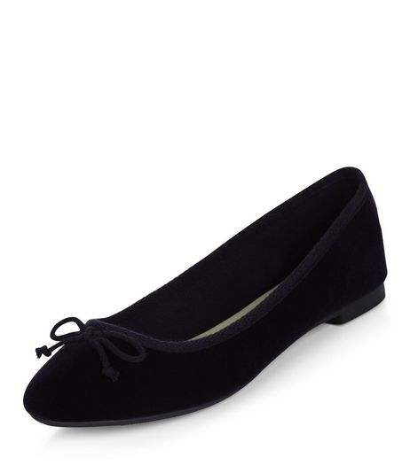 Navy Velvet Ballet Pumps  | New Look