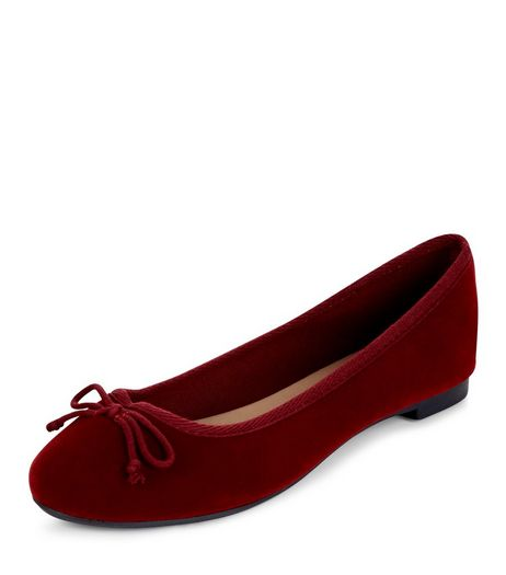 Burgundy Velvet Ballet Pumps | New Look