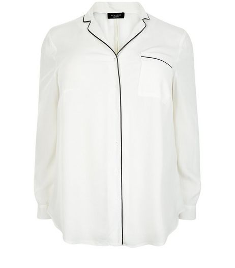 Curves White Contrast Trim Long Sleeve Shirt | New Look