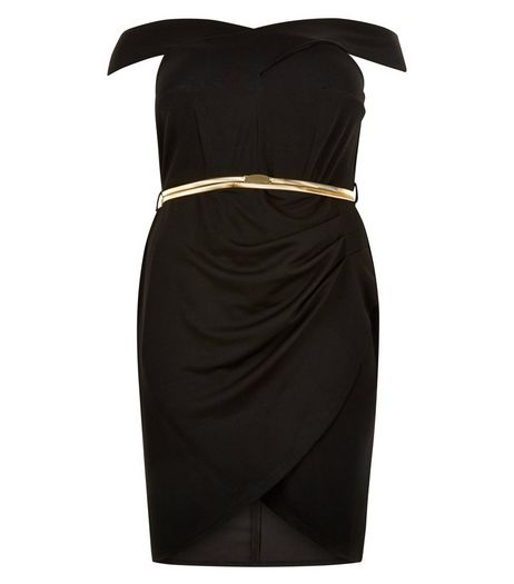Curves Bardot Neck Belted Dress | New Look