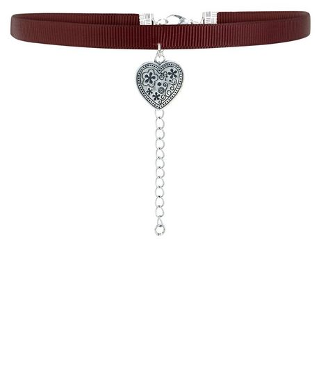 Dark Red Engraved Heart Choker  | New Look