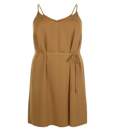 Curves Olive Green Satin Slip Dress | New Look