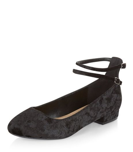 Wide Fit Black Velvet Double Ankle Strap Pumps  | New Look