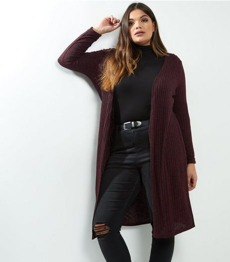 Curves Burgundy Ribbed Longline Cardigan | New Look