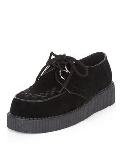 Black Suede Stitch Trim Creepers  | New Look