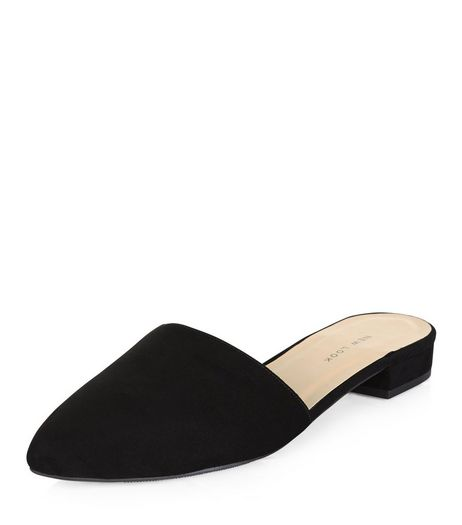 Wide Fit Black Suedette Mules | New Look