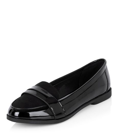 Wide Fit Black Comfort Patent Contrast Loafers  | New Look