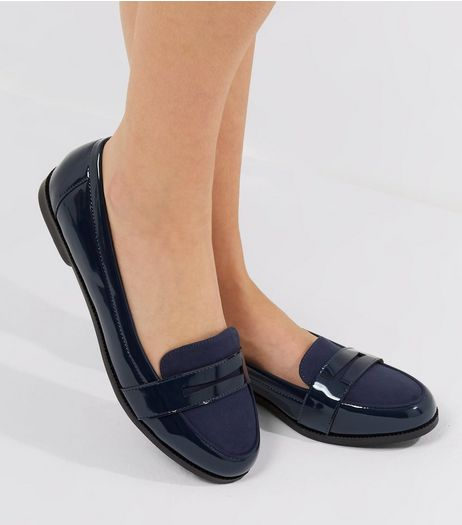 Wide Fit Navy Comfort Patent Loafers | New Look
