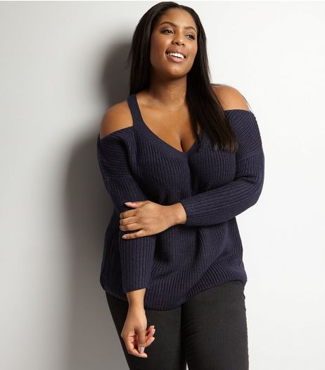 Curves Navy Cold Shoulder V Neck Jumper | New Look