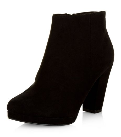 Wide Fit Black Suedette Platform Ankle Boots | New Look