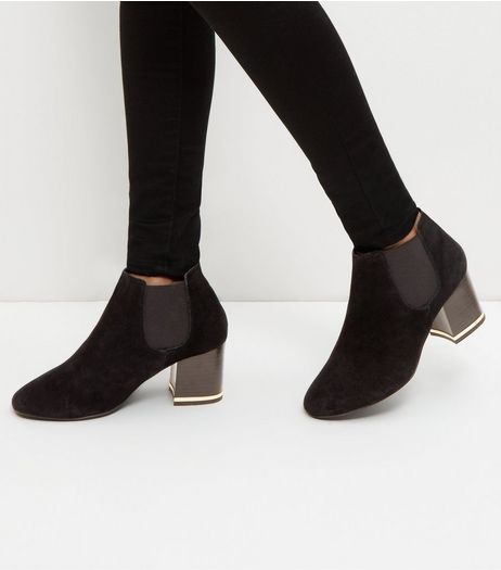 Wide Fit Black Suede Metal Trim Ankle Boots | New Look