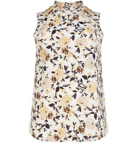 Curves White Floral Print Sleeveless Top | New Look