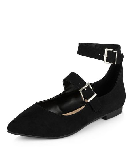 Black Double Strap Pointed Pumps | New Look